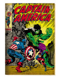 Marvel Comics Retro: Captain America Comic Book Cover 110, with the Hulk and Bucky (aged) Prints