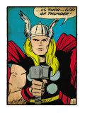Marvel Comics Retro: Mighty Thor Comic Panel; God of Thunder! Holding Hammer (aged) Art
