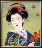 Japanese Geisha in Fall Leaves Framed Giclee Print