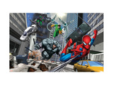 Spider-Man, Rhino, Green Goblin, and Doctor Octopus in the City Print