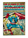 Marvel Comics Retro: Captain America Comic Panel; Smashing through Window (aged) Kunstdrucke