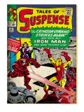 Marvel Comics Retro: The Invincible Iron Man Comic Book Cover 52, Facing the Crimson Dynamo (aged) Posters