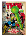 Marvel Comics Retro: The Mighty Thor Comic Book Cover No.144, Charging, Swinging Hammer (aged) Print