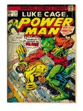 Marvel Comics Retro: Luke Cage, Power Man Comic Book Cover 29, Fighting Mr. Fish (aged) Art