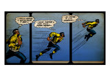 Marvel Comics Retro: Luke Cage, Hero for Hire Comic Panel, Running and Jumping (aged) Poster