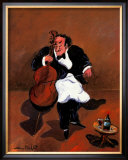 Cellist with Red Wine Print by Guy Buffet