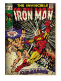 Marvel Comics Retro: The Invincible Iron Man Comic Book Cover No.25, Fighting Namor (aged) Prints