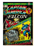 Marvel Comics Retro: Captain America Comic Book Cover No.178, with the Falcon (aged) Print