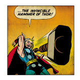 Marvel Comics Retro: Mighty Thor Comic Panel, Throwing Hammer (aged) Poster