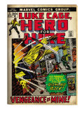 Marvel Comics Retro: Luke Cage, Hero for Hire Comic Book Cover 2, Smashing Wall (aged) Affiche