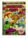 Marvel Comics Retro: Fantastic Four Family Comic Book Cover No.166, Thing Vs. Hulk (aged) Print