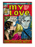 Marvel Comics Retro: My Love Comic Book Cover 20, Kissing, When Strangers meet! (aged) Prints