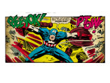 Marvel Comics Retro: Captain America Comic Panel, Fighting, Phase 1, So Far So Good! (aged) Prints