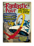 Marvel Comics Retro: Fantastic Four Family Comic Book Cover 3, Flying (aged) Prints