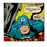 Marvel Comics Retro: Captain America Comic Panel, Villain Monologue, Say your Prayers (aged) Prints