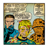 Marvel Comics Retro: Fantastic Four Comic Panel, Mr. Fantastic, Invisible Woman, Thing (aged) Poster