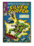 Marvel Comics Retro: Silver Surfer Comic Book Cover No.2, Fighting, When Lands the Saucer! (aged) Art