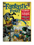 Marvel Comics Retro: Fantastic Four Family Comic Book Cover No.2, Fighting Skrulls (aged) Art