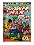 Marvel Comics Retro: Luke Cage, Hero for Hire Comic Book Cover 25, Crime and Circus (aged) Prints
