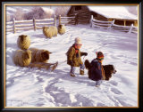 The Sledding Party Print by Robert Duncan