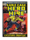 Marvel Comics Retro: Luke Cage, Hero for Hire Comic Book Cover No.1, Origin (aged) Posters