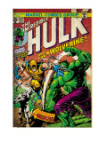 Marvel Comics Retro: The Incredible Hulk Comic Book Cover 181, with Wolverine (aged) Print