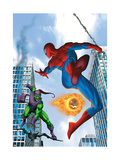 Spider-Man and Green Goblin Fighting in the City; Throwing Flaming Pumpkin Art