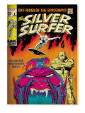 Marvel Comics Retro: Silver Surfer Comic Book Cover No.6, Worlds Without End! (aged) Prints