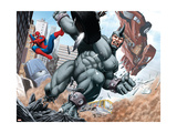 Spider-Man and Rhino Fighting - Battle Scene Art