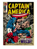 Marvel Comics Retro: Captain America Comic Book Cover No.106, Cap Goes Wild (aged) Prints