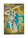 Marvel Comics Retro: Silver Surfer Comic Panel, Over the City (aged) Kunstdruck