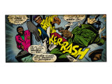 Marvel Comics Retro: Luke Cage, Hero for Hire Comic Panel, Kicking and Fighting (aged) Poster