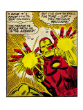 Marvel Comics Retro: The Invincible Iron Man Comic Panel, Fighting and Shooting (aged) Art