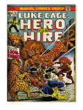 Marvel Comics Retro: Luke Cage, Hero for Hire Comic Book Cover 13, Fighting Lion-fang (aged) Prints