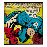 Marvel Comics Retro: Captain America Comic Panel, Monologue, I'm in Luck! (aged) Art