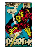 Marvel Comics Retro: The Invincible Iron Man Comic Panel, Fighting and Shooting, Shoosh! (aged) Art