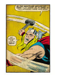 Marvel Comics Retro: Mighty Thor Comic Panel, Swinging Hammer (aged) Posters