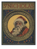 Illustration Of Santa Claus Portrait Prints by Norman Price