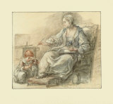 Lady Writing Collectable Print by Francois Guérin