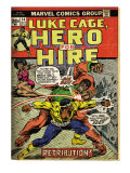 Marvel Comics Retro: Luke Cage, Hero for Hire Comic Book Cover 14, Fighting Big Ben (aged) Prints