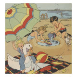 Making A Sand Castle At The Beach Prints by Constance Heffron