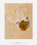 Nude with Blue Stockings Bending Forward, c.1912 Prints by Egon Schiele