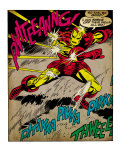 Marvel Comics Retro: The Invincible Iron Man Comic Panel, Fighting and Deflecting (aged) Prints