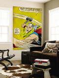 Marvel Comics Retro: Mighty Thor Comic Panel, Swinging Hammer (aged) Wall Mural