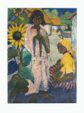 Gipsies with Sunflower Collectable Print by Otto Mueller