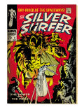 Marvel Comics Retro: Silver Surfer Comic Book Cover 3, Fighting Mephisto (aged) Prints
