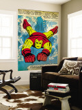 Marvel Comics Retro: The Invincible Iron Man Comic Panel, Swimming (aged) Premium Wall Mural