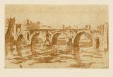 Ponte Molle at Rome Samlertryk af Nicolas Poussin