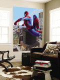 Spider-Man Swinging In the City Mural