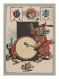 Bear Playing A Drum In Circus Poster by Constance Winter
